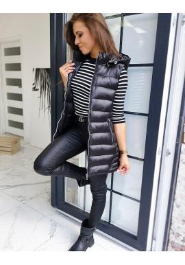 Čierna dlhá vesta s kapucňou pre dámy