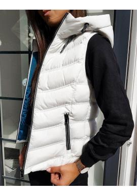 Biela teplá vesta s kapucňou pre dámy