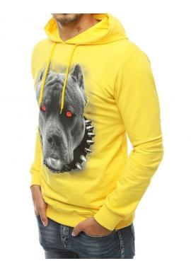 Pánska módna mikina s potlačou psa v žltej farbe