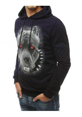 Tmavomodrá módna mikina s potlačou psa pre pánov