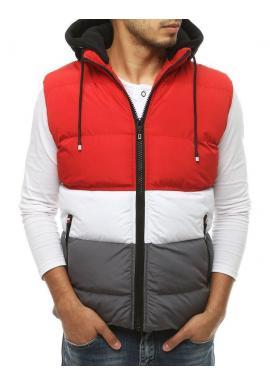 Prešívaná pánska vesta červenej farby s kapucňou