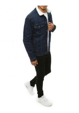 Pánska rifľová bunda s kožušinou v tmavomodrej farbe