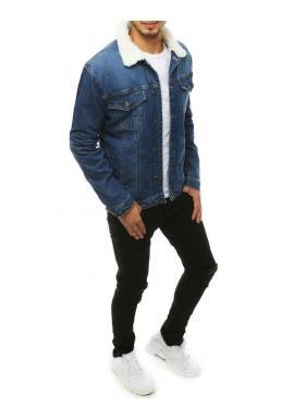 Rifľová pánska bunda svetlomodrej farby s kožušinou