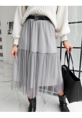 Dvojvrstvová dámska sukňa sivej farby s trblietkami
