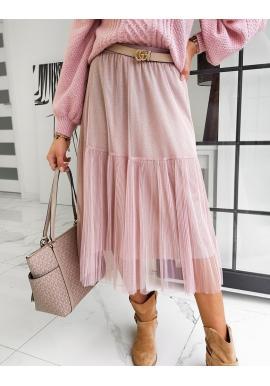 Ružová dvojvrstvová sukňa s trblietkami pre dámy