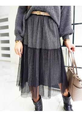 Dámska dvojvrstvová sukňa s trblietkami v čiernej farbe
