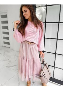 Dámsky módny sveter s nafúknutými rukávmi v ružovej farbe