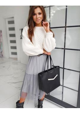 Biely módny sveter s nafúknutými rukávmi pre dámy