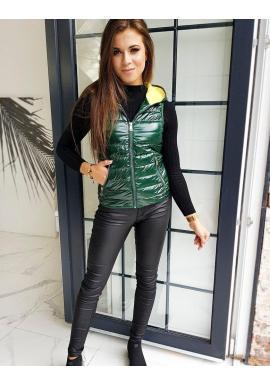 Dámska prešívaná vesta s kapucňou v zelenej farbe