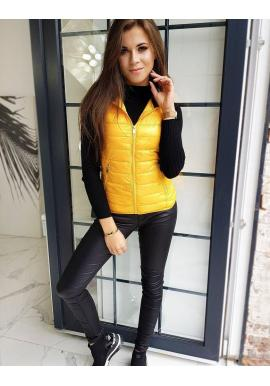 Žltá prešívaná vesta s kapucňou pre dámy