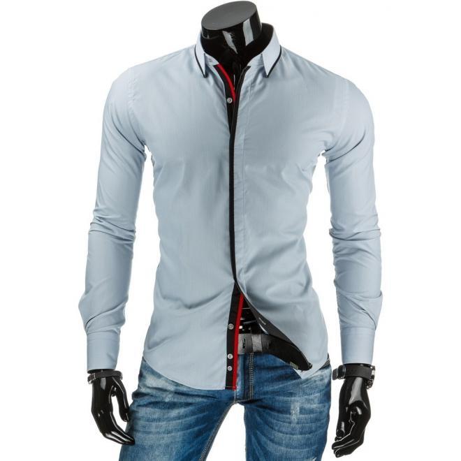 Tmavomodrá pánska košeľa s bodkovaným detailom