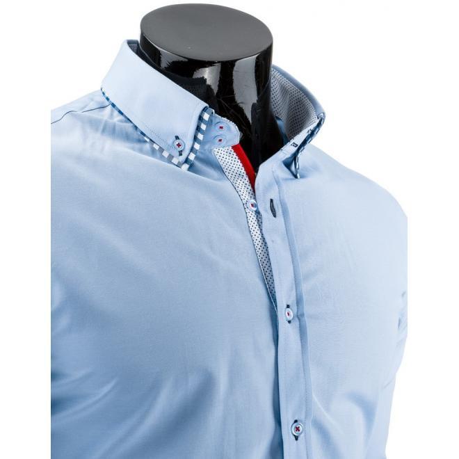 Pánska tmavomodrá košeľa s bodkovaným detailom