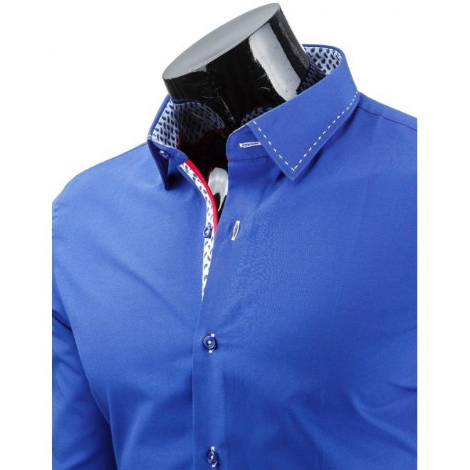Štýlová pánska košeľa svetlomodrej farby s dlhým rukávom