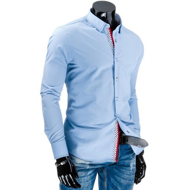 Tmavomodrá pánska košeľa s vzorom na zapínaní