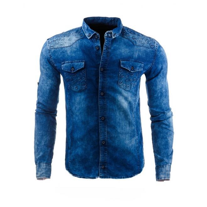 Pánska džínová košeľa s motívom lebiek tmavomodrej farby