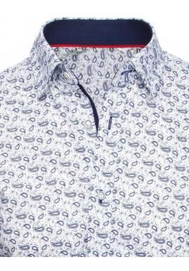 Pánske vzorované košele s dlhým rukávom v bielej farbe