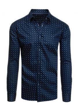Tmavomodrá bavlnená košeľa so vzorom pre pánov