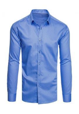 Pánska bavlnená košeľa so vzorom v modrej farbe