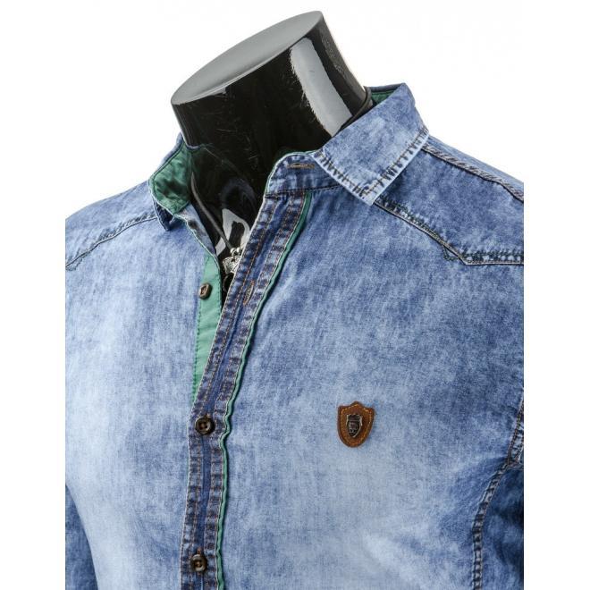 Džínová pánska košeľa so zeleným detailom