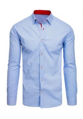 Vzorovaná pánska košeľa svetlomodrej farby s dlhým rukávom