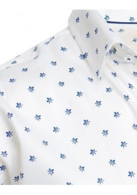 Bavlnená pánska košeľa bielej farby so vzorom