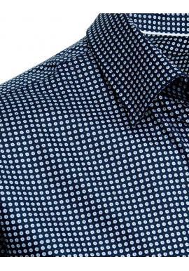 Pánske bavlnené košele so vzorom v tmavomodrej farbe