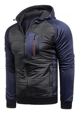 Prechodná pánska bunda tmavomodrej farby s kapucňou