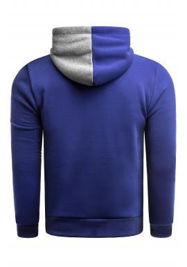 Módna pánska mikina modrej farby s kapucňou a s potlačou