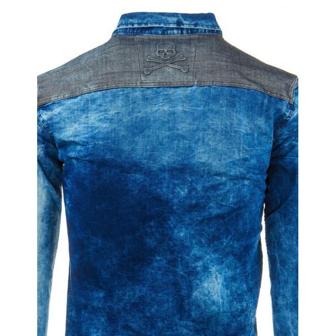 Tmavomodrá džínová košeľa s motívom lebiek pre pánov