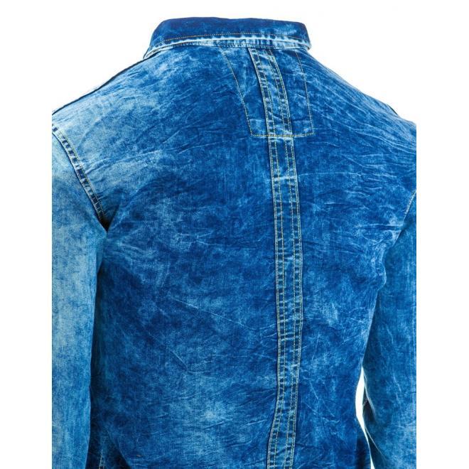 Štýlová džínová košeľa pre pánov s dlhým rukávom