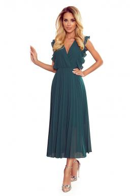 Dámske plisované šaty s volánmi v zelenej farbe