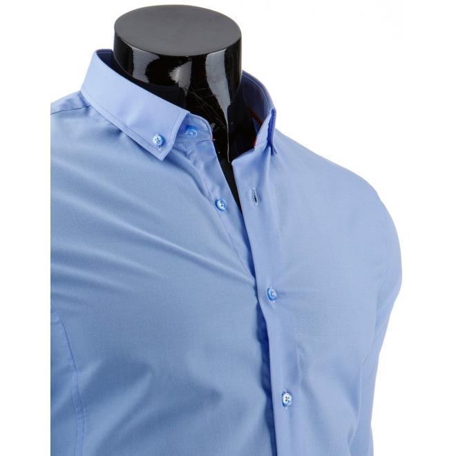 Klasická pánska košeľa modrej farby s dlhým rukávom