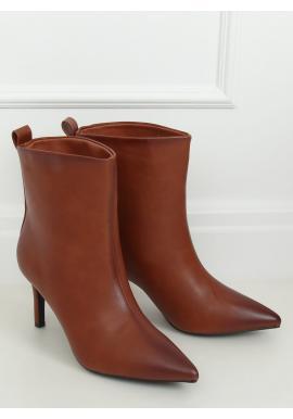 Hnedé lícové topánky na štíhlom podpätku pre dámy