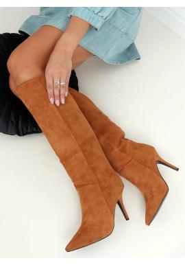 Hnedé semišové čižmy na štíhlom podpätku pre dámy