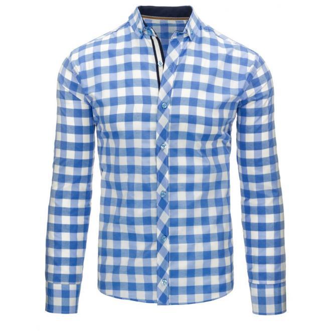 11411d1fdb8a Pánska kockovaná košeľa modro-bielej farby s dlhým rukávom ...