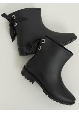 Členkové dámske gumáky čiernej farby s mašľou