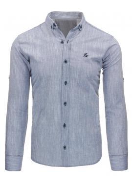 Pánska kockovaná košeľa modro-bielej farby s dlhým rukávom