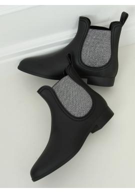 Matné dámske gumáky čiernej farby so striebornými vložkami
