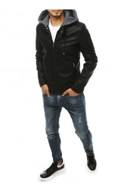 Pánska kožená bunda s teplákovou kapucňou v čiernej farbe