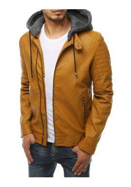 Hnedá kožená bunda s teplákovou kapucňou pre pánov