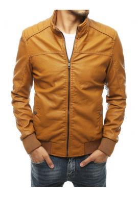 Kožená pánska bunda hnedej farby na prechodné obdobie