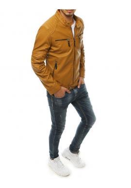Kožená pánska bunda hnedej farby na jeseň