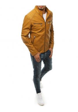 Pánska kožená bunda s prešívanými prvkami v hnedej farbe