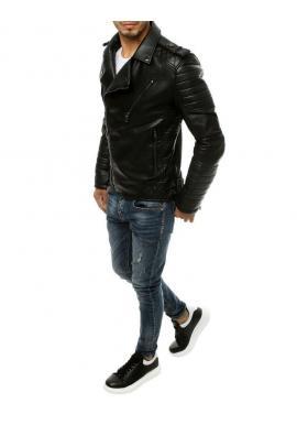 Kožená pánska bunda čiernej farby s prešívanými prvkami