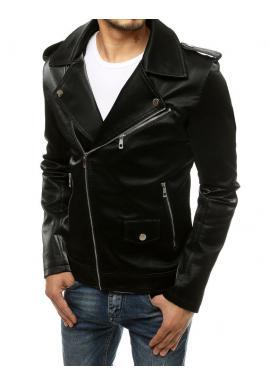 Pánska kožená bunda s asymetrickým zipsom v čiernej farbe