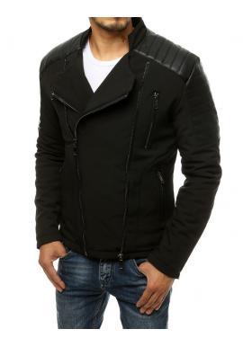 Pánska prechodná bunda s koženými vložkami v čiernej farbe