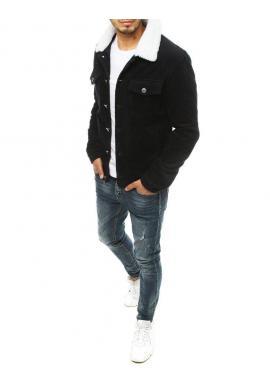 Menčestrová pánska bunda čiernej farby s kožušinovým golierom