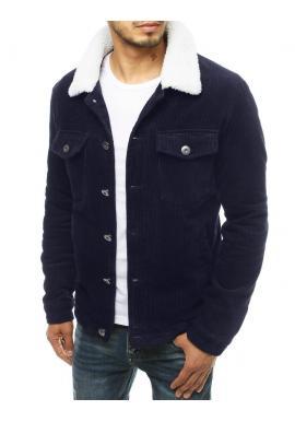Tmavomodrá menčestrová bunda s kožušinovým golierom pre pánov