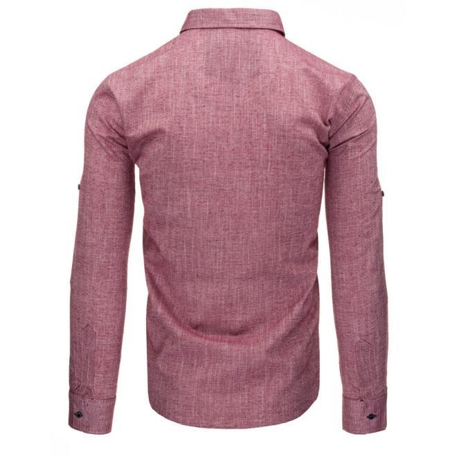 Pánska košeľa s dlhým rukávom v červenej farbe