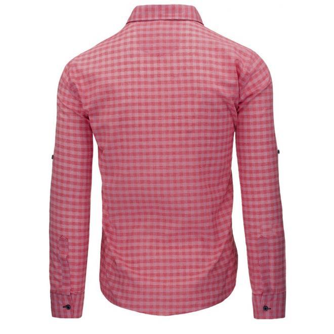 Kockovaná pánska košeľa mätovej farby